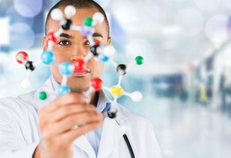 white atom: Student, chemistry, isolated. Stock Photo