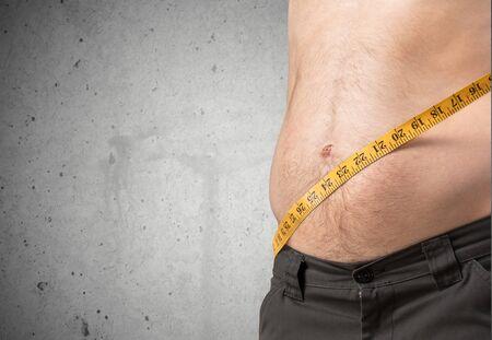 pot belly: Weight, Improvement, Men. Stock Photo