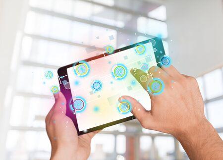 Digital Tablet, Human Hand, Holding. photo