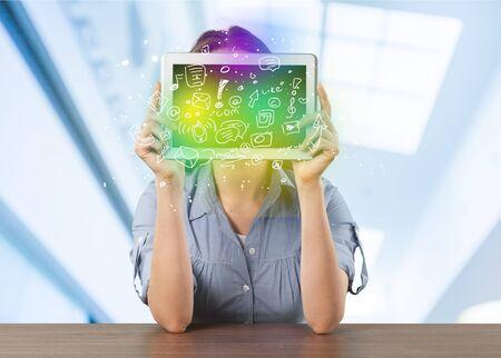 Woman, tablet, positive. photo