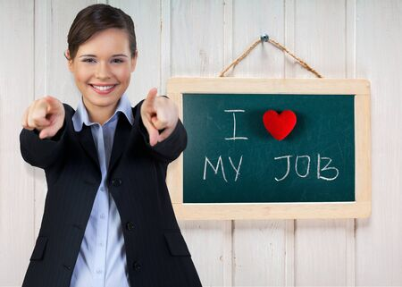 short phrase: Love, work, chalkboard.