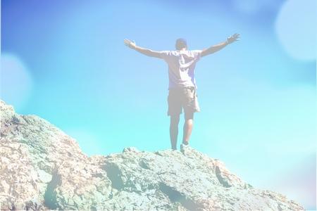 soulfulness: Rock, Men, Climbing. Stock Photo