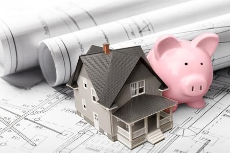 ahorros: Casa, Préstamo, Ahorros. Foto de archivo
