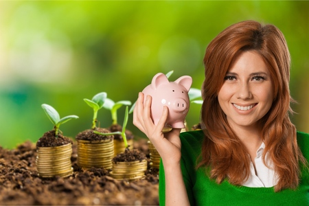 Savings, Piggy Bank, Women. photo
