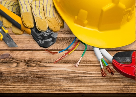 power tool: Electrician, Work Tool, Power Cable. Stock Photo