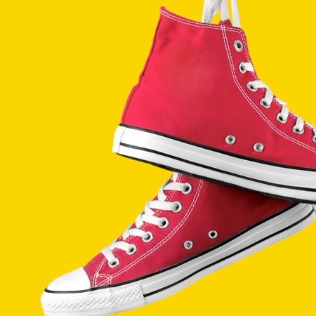 shoelace: Canvas Shoe, Shoelace, Shoe. Stock Photo