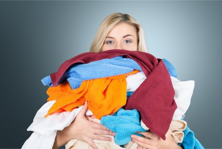 Laundry, Clothing, Stereotypical Housewife. Stock Photo