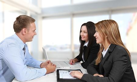アドバイス、弁護士の顧客。 写真素材