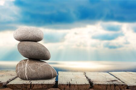 three objects: Three Objects, Stone, Rock. Stock Photo