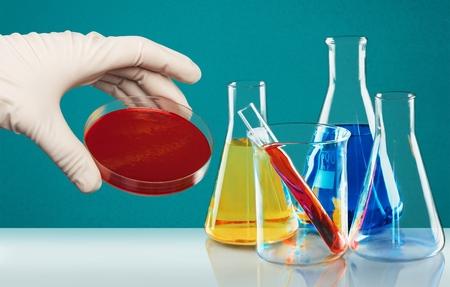 beaker: Tubo de ensayo, Vaso de Laboratorio, Qu�mica. Foto de archivo