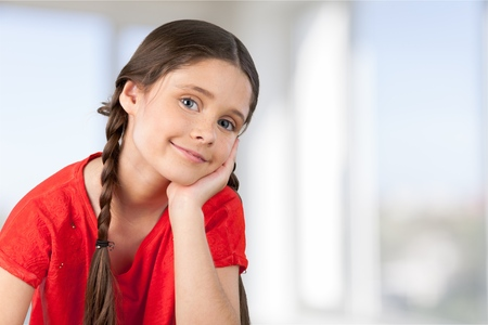 pigtail: Child, Little Girls, Smiling.