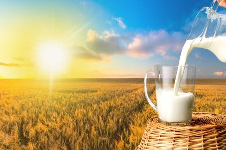 Latte, prodotti lattiero-caseari, Versare. Archivio Fotografico