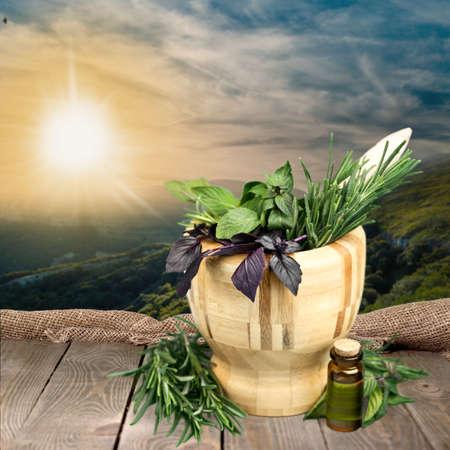 rosemary flower: Herbal Medicine, Herb, Mortar and Pestle.