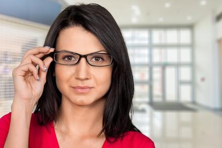 file clerk: Glasses, Women, Beautiful.
