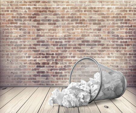 worthless: Garbage, Paper, Wastepaper Basket. Stock Photo