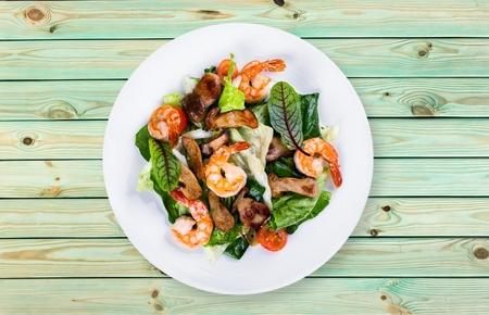 Shrimp, seafood, dish. Standard-Bild
