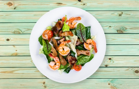 side dishes: Shrimp, seafood, dish. Stock Photo