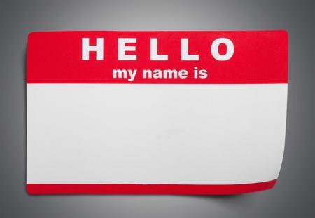 Identity, Name Tag, Hello.