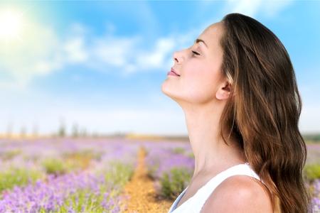 breathing exercise: Breathe, breath, woman. Stock Photo