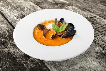 seafood soup: Fish Stew, Seafood, Soup. Stock Photo