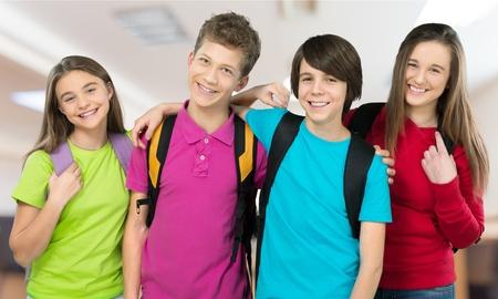 学校、子供、戻る。