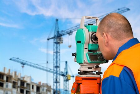surveyor: Surveyor, Land, Topography. Stock Photo