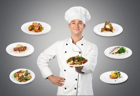 professional chef: Chef, Cooking, Restaurant. Stock Photo
