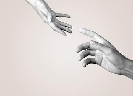 인간의 손, 지원, 도움의 손길. 스톡 콘텐츠