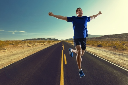 one man: Runner, isolated, one man.
