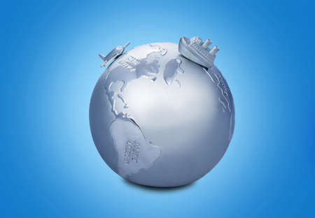 physical geography: Africa, Globe, Map. Stock Photo