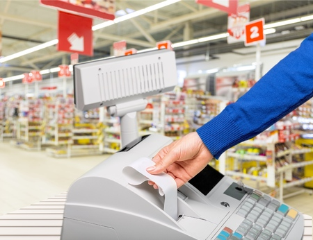 receipt: Cash Register, Receipt, Retail. Stock Photo