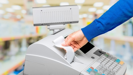 supermarket cash: Cash Register, Receipt, Retail. Stock Photo