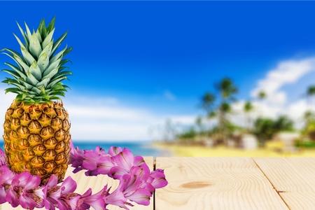 caribbean food: Garland, Hawaiian Culture, Pineapple. Stock Photo
