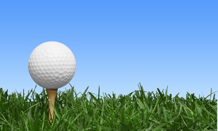 tee off: Golf, Grass, Golf Ball.