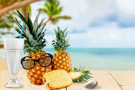 bisected: Pineapple, Fruit, Isolated. Stock Photo