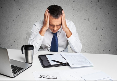 unpaid: Emotional Stress, Men, Finance. Stock Photo