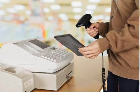 bar code reader: Cash Register, Retail Occupation, Bar Code Reader.