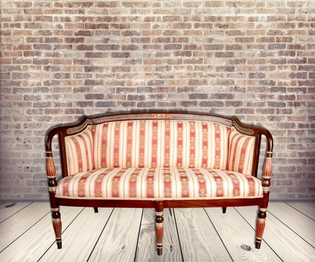 antique furniture: Sofa, Antique, Furniture. Stock Photo