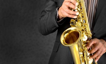 musical band: Jazz, Musical Band, Saxophone. Stock Photo