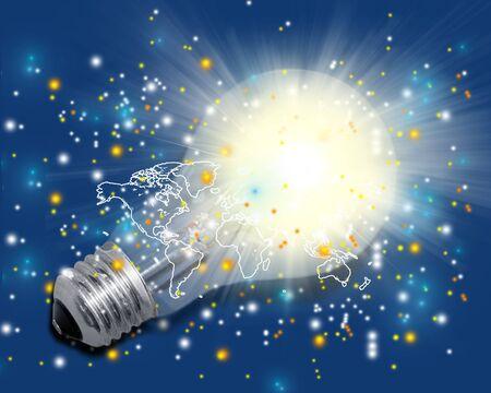 light circular: Brass, bulb, filament. Stock Photo