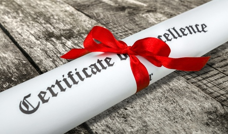 perfection: Certificate, Training, Perfection. Stock Photo
