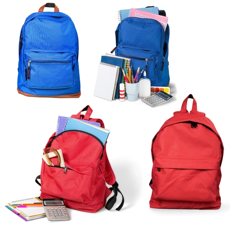 supplies: Backpack, bag, school. Stock Photo