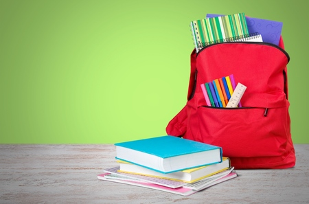 school life: Escuela, bolsa, mochila.