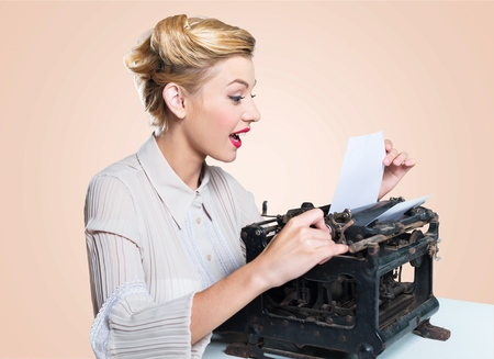 olds: Work, paper, side view. Stock Photo