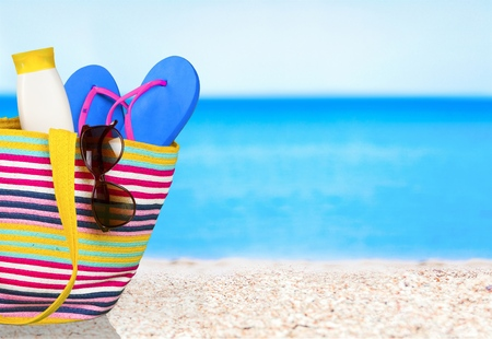 Urlaub, Sommer, Strand-Tasche.