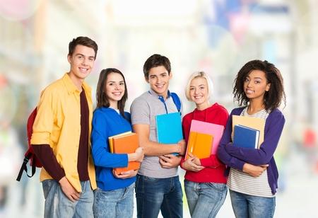 アジア、学生、グループ。