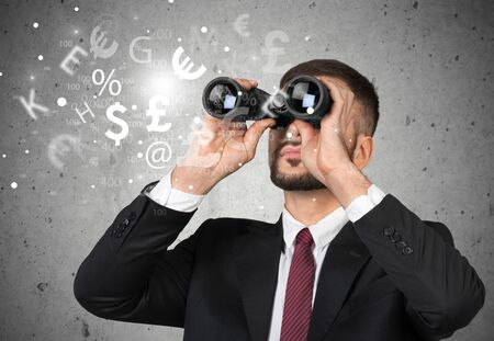 distance: Man, search, distance. Stock Photo
