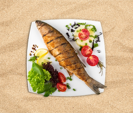 grilled fish: Fish, Grilled, Prepared Fish. Stock Photo