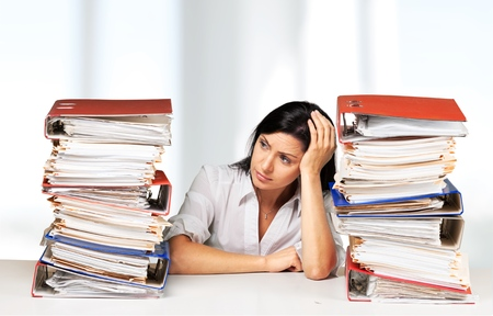 exhaustion: Emotional Stress, Exhaustion, Women. Stock Photo