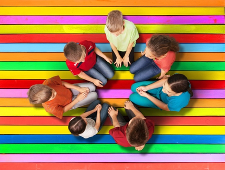 hands high: Child, Group Of People, Human Hand. Stock Photo
